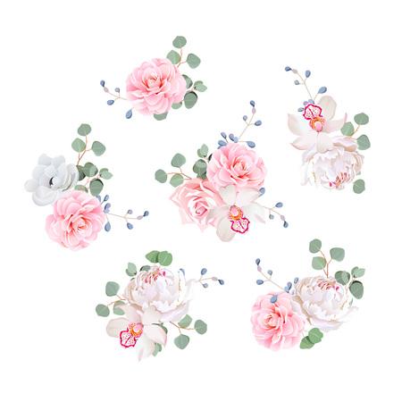 Kleine bruiloft boeketten van rozen, pioen, camellia, orchidee, anemoon, camelia, blauwe bessen en eucaliptis bladeren. design elementen. Vector Illustratie