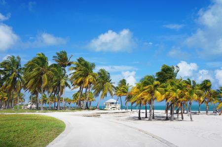 key biscayne: Boardwalk in the Crandon park Beach, Miami, USA Stock Photo