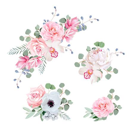 Süße Brautsträuße von Rosen, Pfingstrosen, Orchideen, Anemonen, Kamelie, blaue Beeren und eucalypti Blätter.