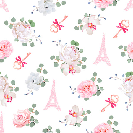 gentle dream vacation: Romantic Paris seamless print. White and pink pattern with Eiffel towers, keys and flower bouquets. Camellia, orchid, rose, peony, eucaliptus, anemone. Illustration