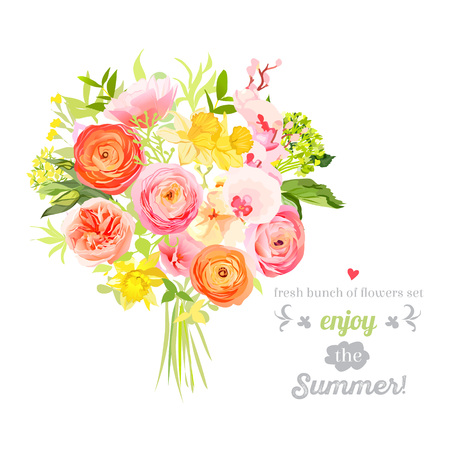 Lush bright summer flowers design set. Colorful floral objects. All elements are isolated and editable.