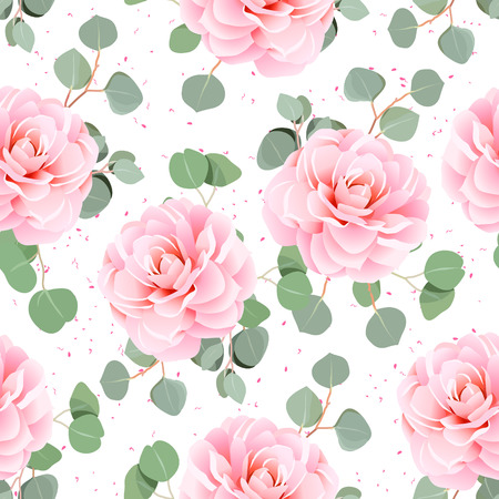 tillable: Pink camellia and eucalyptus leaves seamless pattern. Tillable design print on white background.