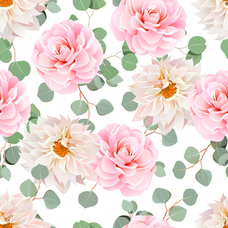 tillable: Pink camellia, dahlias and eucalyptus leaves seamless pattern. Tillable design print on white background.