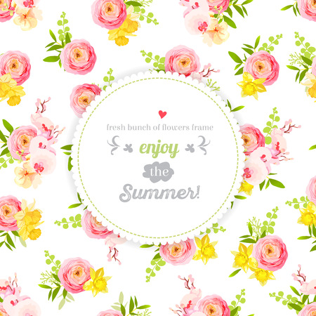 pink floral: Fresh spring roses, ranunculus, orchid and exotic herbs design frame