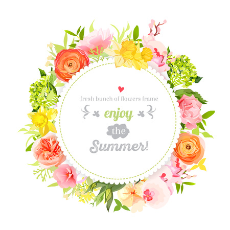Lush bright summer flowers design frame. Colorful floral objects. All elements are isolated and editable.