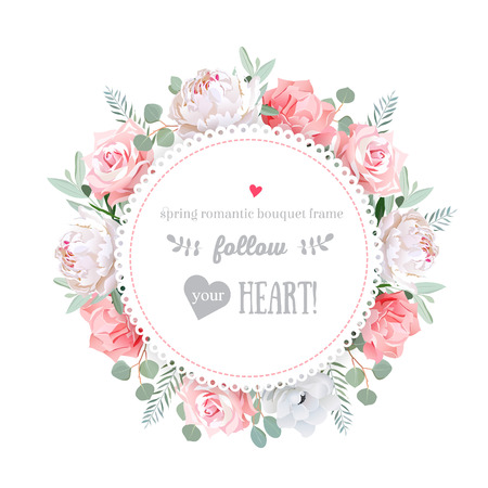 Delicate wedding floral design frame. Peony, rose, anemone, pink flowers. Colorful floral objects. All elements are isolated and editable.