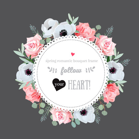 gray anemone: Stylish floral design frame. Anemone, rose, pink flowers. Colorful floral objects. All elements are isolated and editable. Illustration