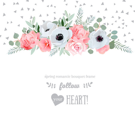 Anemone, rose, pink flowers and decorative eucaliptus leaves design card. Speckled triangle confetti backdrop. All elements are isolated and editable.