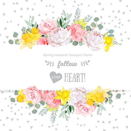 Pfingstrose, Rose, Narzisse, rosa Blumen und dekorativen eucaliptus Blätter Design-Karte. Gesprenkelt Dreieck Konfetti Kulisse. Alle Elemente sind isoliert und bearbeitet werden.