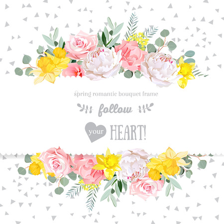 Peony, rose, narcissus, pink flowers and decorative eucaliptus leaves design card. Speckled triangle confetti backdrop. All elements are isolated and editable.