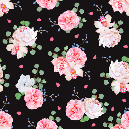 Black background with bouquets of rose, peony, camellia, orchid, anemone, blue berries and eucaliptis leaves. Seamless print with pink petals.