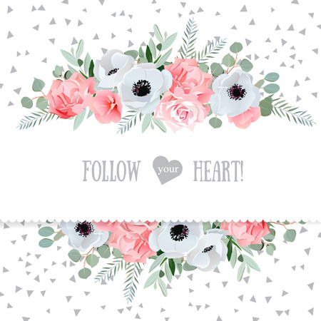 Anemone, rose, pink flowers and decorative eucaliptus leaves mirrored design card. Speckled triangle confetti backdrop. All elements are isolated and editable.