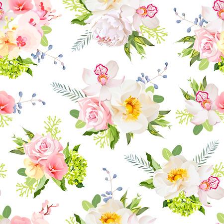 wild rose: Pretty summer garden seamless print. Wild rose, orchid, fresh green leaves, blue berries.