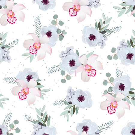 gray anemone: Orchid, anemones, brunia flowers and eucaliptis leaves. Seamless pattern with minty dotted backdrop.