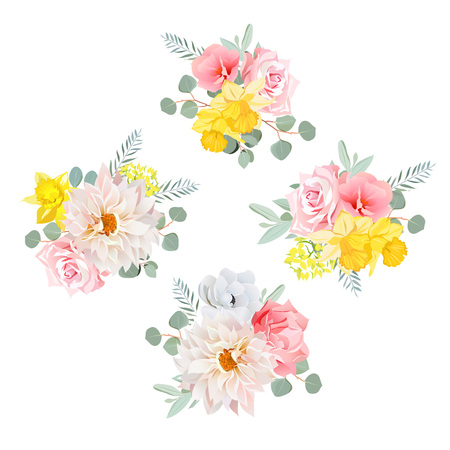 eucalyptus: Bouquets of dahlia, rose, narcissus, anemone, pink flowers and eucalyptus leaves. All elements are isolated and editable.