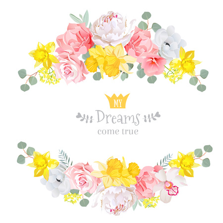 Summer sunny floral design frame. Narcissus, peony, orchid, rose, pink and yellow flowers, eucaliptus leaves. Floral stripe elements.