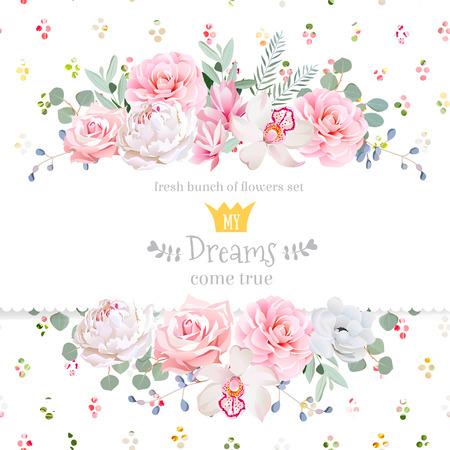Pfingstrose, Rose, Orchidee, Kamelie, rosa Blumen und dekorativen eucaliptus Blätter Design-Karte. Regenbogen Runde Konfetti Kulisse. Alle Elemente sind isoliert und bearbeitet werden.