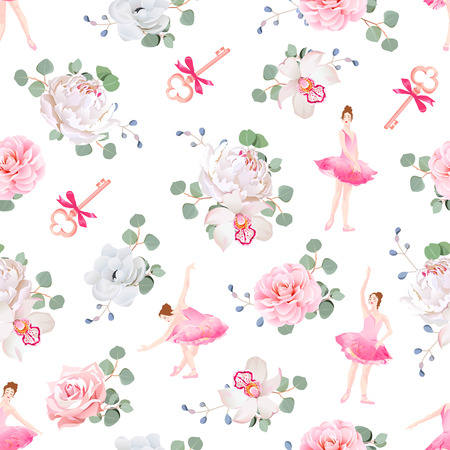 renaissance woman: ballerinas dance, keys with bows and fresh spring flower bouquets seamless pattern. Ballet design print.