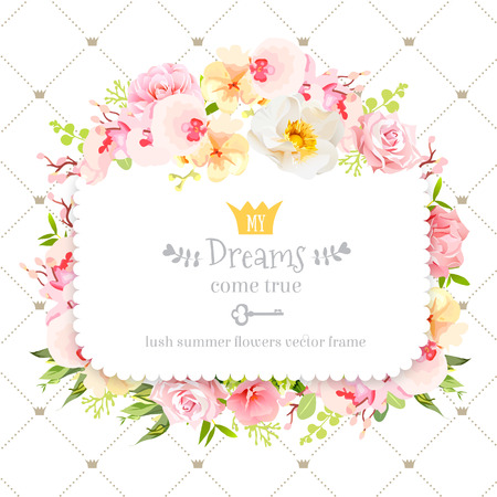 Square floral design frame. Orchid, wild rose, camellia flowers and fresh green leaves. Feminine summer decoration. Simple backdrop with diagonal lines and small princess crowns. 일러스트