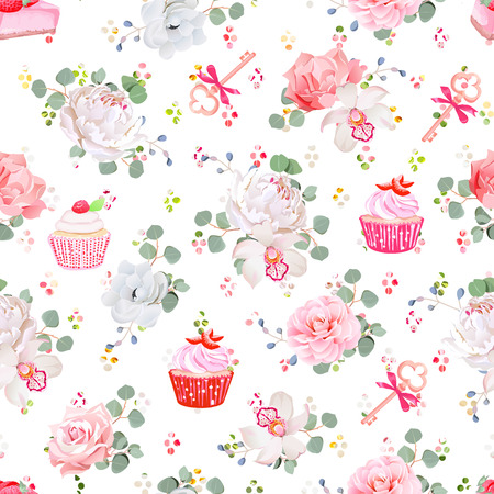 Fresh pastries, bouquets of flowers, keys with red bows and rainbow round blob confetti seamless print. Peony, orchid, rose, camellia, cupcakes, strawberry cheesecake.