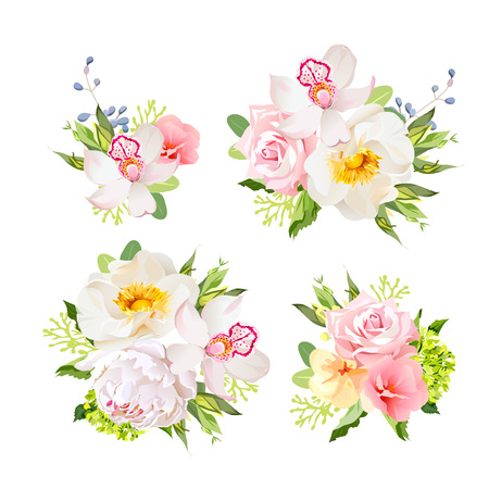 orchid isolated: Bouquets of wild rose, orchid, peony, green hydrangea, pink flowers and blue berries. All elements are isolated and editable. Illustration