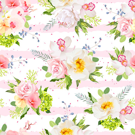 Summer garden flowers seamless design pattern. Pink and white striped background with red speckles.