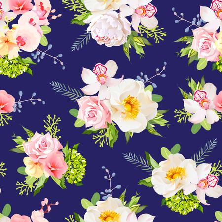 azul marino: Marina de jardín de verano azul de impresión diseño sin costuras. rosa salvaje, orquídea, hojas verdes frescas, bayas.