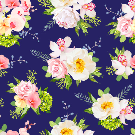 yellow orchid: Navy blue summer garden seamless design print. Wild rose, orchid, fresh green leaves, berries.