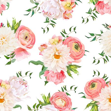 Dahlia, ranunculus, rose and peony seamless pattern. Romantic garden print.