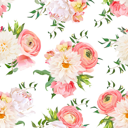 Dahlia, ranunculus, rose and peony seamless pattern. Romantic garden print.