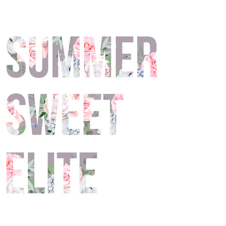 elite: Orchids, roses, peony and camellia text objects. Summer, sweet and elite. Typographic design artwork. Illustration