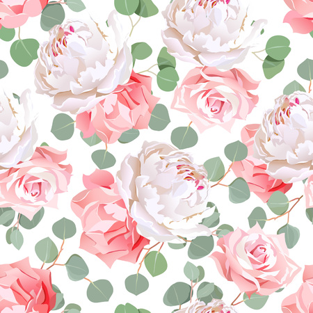 Pink roses, carnation, peony and eucaliptus leaves seamless pattern. Tileable design print on white background.