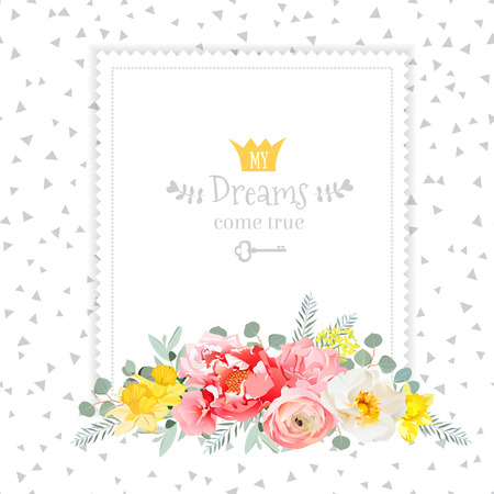 Square design frame with bouquet of wild rose, ranunculus, daffodil, narcissus, carnation and eucaliptus leaves. Speckled triangle confetti backdrop. All elements are isolated and editable.