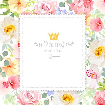 Rainbow floral vierkante design frame. Orchidee, roos, anjer bloemen en felle zomer groene bladeren. Spring achtergrond sjabloon. Stock Illustratie