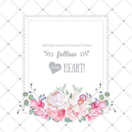 Square floral design frame. Orchid, rose, peony, carnation flowers and eucaliptus leaves. Simple backdrop with diagonal lines and small princess crowns. All elements are isolated and editable. 矢量图像