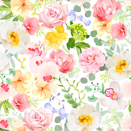 Multicolor floral seamless  print with varied plants and flowers. Orchid, rose, hydrangea, carnation, daffodil, camellia, narcissus, wildflowers. Summer cheerful pattern. Stock Illustratie