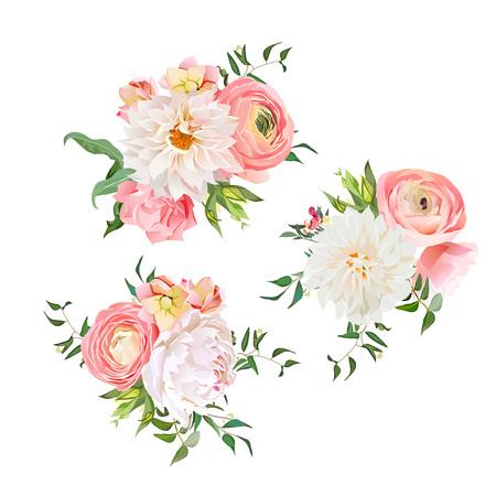 Boeketten van rozen, pioen, ranonkel, dahlia, anjer, groene planten. design elementen.