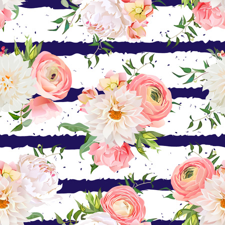 dahlia: Dahlia, ranunculus, rose and peony seamless pattern. Navy striped and speckled print.