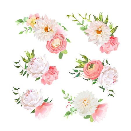 dahlia: Small summer bouquets of rose, peony, ranunculus, dahlia, carnation, green plants. design elements. Illustration