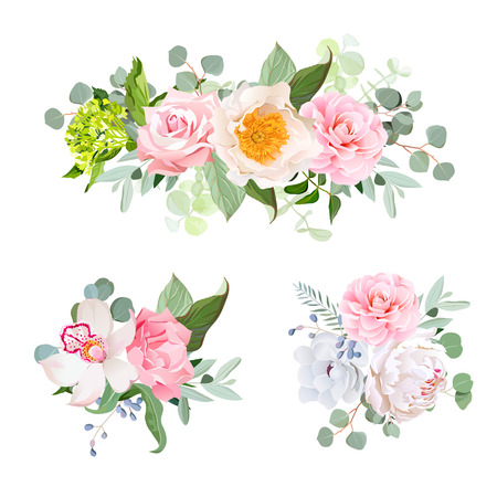Stylish various flowers bouquets vector design set. Green hydrangea, rose, camellia, orchid, peony, anemone, carnation, eucaliptus leaf, wildflowers. All elements are isolated and editable.
