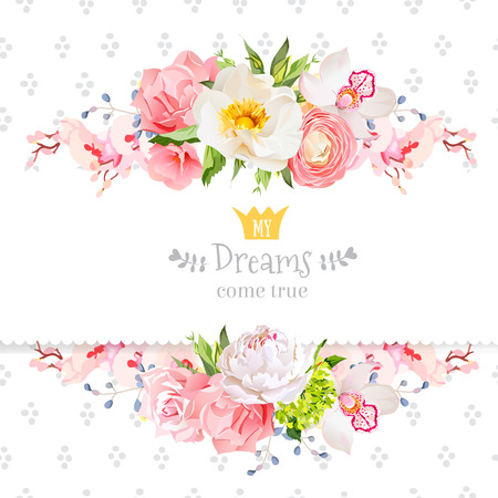 Peony, wild rose,  orchid, carnation, ranunculus, hydrangea, blue berries and green leaves vector design card. Speckled round confetti backdrop. All elements are isolated and editable.