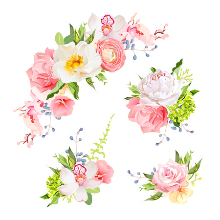 pink vintage: Bright birthday bouquets of wild rose, peony, orchid, carnation, ranunculus, hydrangea, blue berries and green leaves. Vector design elements.