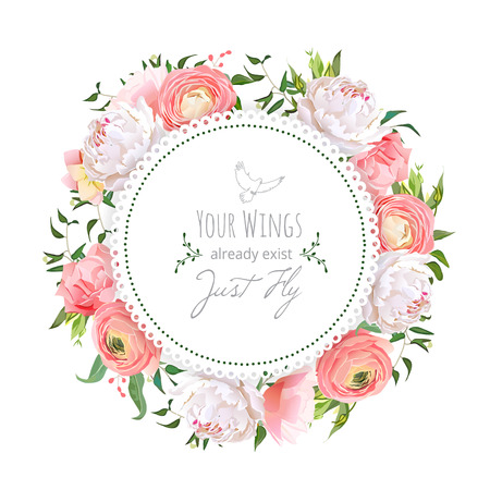 green plants: Wedding ranunculus, peony, rose, carnation, green plants round vector design frame. White delicate background. All elements are isolated and editable.