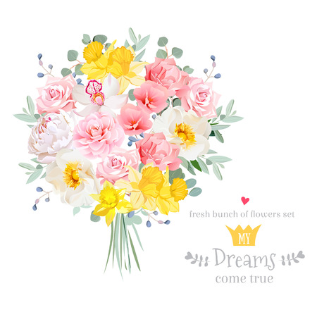 Lush bright spring flowers vector design set. Colorful floral bouquet object. All elements are isolated and editable.