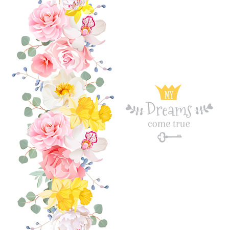 vertical garden: Vertical seamless line garland with camellia, wild rose, peony, orchid, carnation, narcissus, eucaliptus leaves and blue berries. Cute garden floral vector design frame. Banner stripe element.
