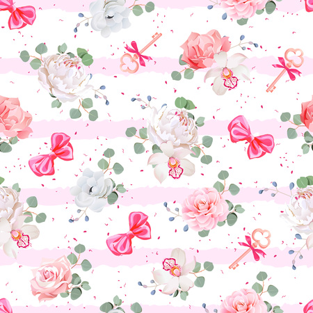 Striped pink seamless vector print with red satin bows, speckles and flowers. Rose, peony, camellia, carnation, anemone, eucaliptus leaves. Dotted backdrop.