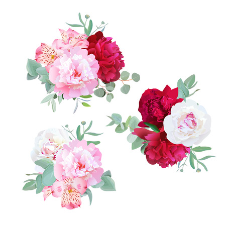 Luxury floral bouquets of peony, alstroemeria lily, mint eucaliptus and ranunculus leaves on white. Pink, white and burgundy flowers.