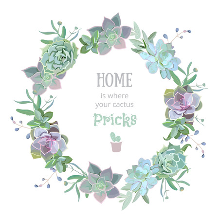 Green colorful succulent Echeveria vector design round frame. Natural cactus card in modern funky style. 版權商用圖片 - 59843883