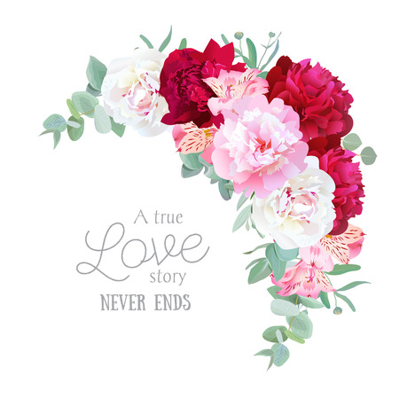 Luxury floral crescent vector frame with peony, alstroemeria lily, mint eucaliptus and ranunculus leaves on white. Pink, white and burgundy red flowers. Vettoriali
