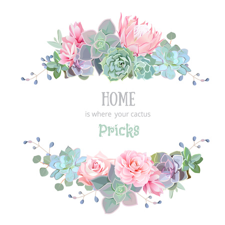 Green colorful succulents vector design round frame. Echeveria, protea, eucaliptus. Natural cactus card in modern funky style. All elements are isolated and editable. Vector Illustration